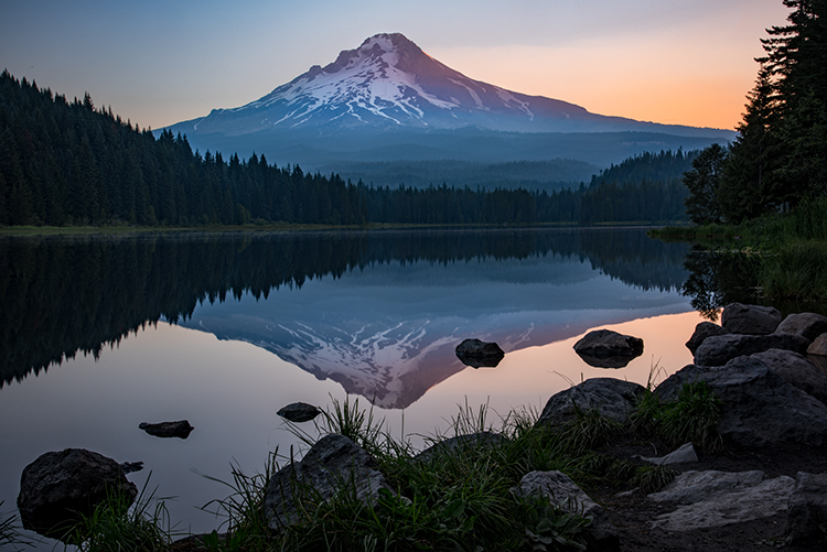 mt hood, cascades, mountains, flora, sunrise, trillium lake, columbia gorge, photo
