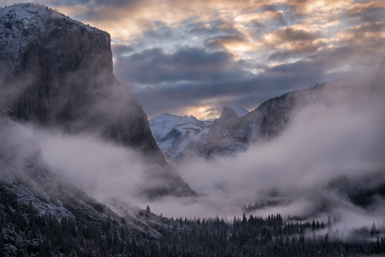 yosemite, national park, park, trees, snow, fog, sierra, california, ca, spring, merced, river, water, sunrise, half dome, tunnel view, el capitan, cathedral rocks, bridalveil falls, clearing, storm, photo