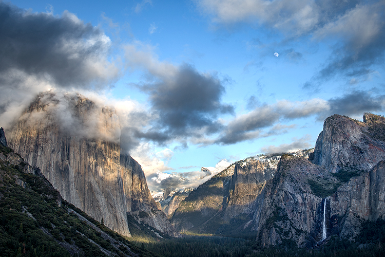 Yosemite, California, Ca, Sierra, valley, Yosemite national park,  el capitan, trees, sunset, tunnel view,  falls, water, clouds, moon, , photo