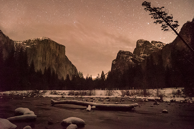 yosemite national park, yosemite, california, merced river, merced, sierra, stars, winter, snow, el capitan, valley view, water, photo
