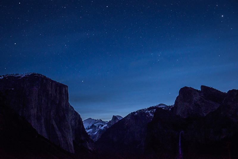 tunnel, view, sunset, twilight, stars, half, dome, yosemite, valley, trees, sierra, mountains, ca, california, , photo