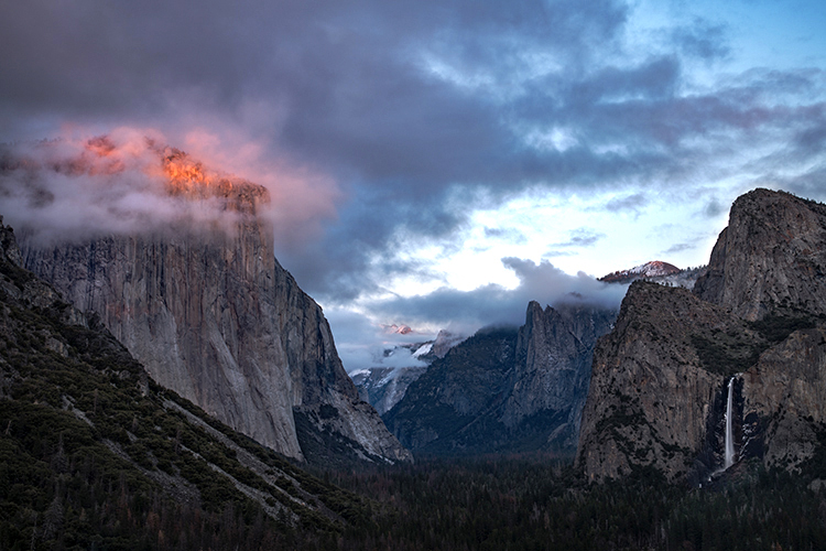 yosemite, national park, sierra, valley, clouds, mountains, leaves, ca, colors, tunnel view, el capitan, half dome, sentinel dome, sunset, winter, clearing storm, photo
