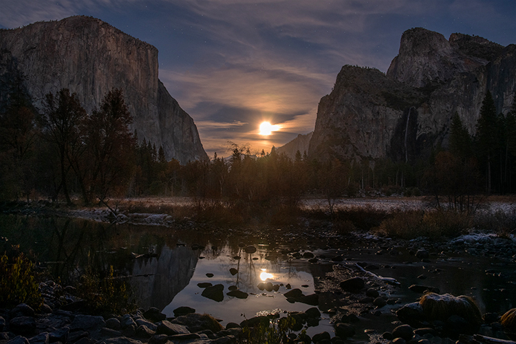 yosemite, national park, ca, california, mountains, sierra, water, half dome, valley, sunset, moonrise, moonlight, moon, fall, colors flora, trees, merced, river, valley view, photo
