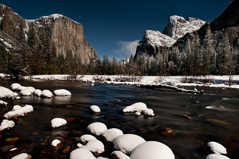 yosemite, view, water, yosemite, valley, winter, snow, reflections, stars, twilight, sierra, mountains, ca, california, merced, river, trees, el capitan, cathedral rocks, atmospherics, landscape, photo