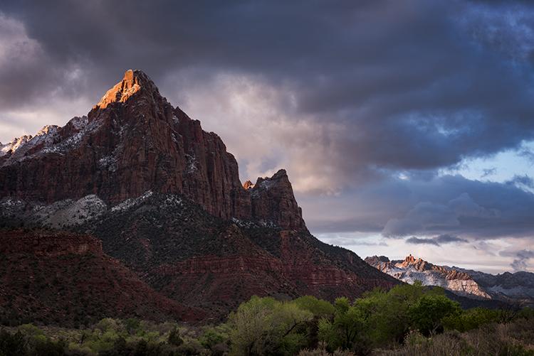 Zion, Zion National Park, ut, utah, red rock, trees, snow, spring, colorado plateau, southwest, mountains, sunrise, clouds, sunrise, watchman, photo