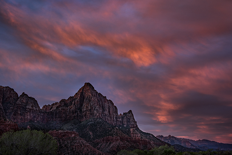Zion, Zion National Park, ut, utah, red rock, trees, snow, spring, colorado plateau, southwest, mountains, clouds, sunset, clouds, watchman, , photo