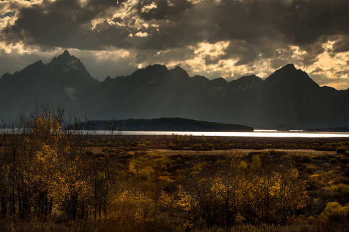 mountains, Wyoming, wy, jackson, Tetons, Grand Teton Park, landscape, Fall, trees, aspens, fall color, snake river, oxbow bend, dawn, sunset, water, willow flat, photo